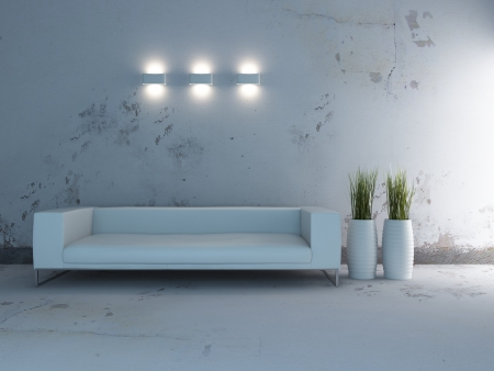 Modern Design Interior Room with white sofa and vases Stock Photo - 19753486