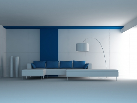 Modern Design Interior Room with white and blue couch Stock Photo - 19753481