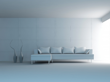 Modern Design Interior Room with white minimalistic couch Stock Photo - 19753497