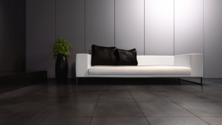 Modern Design Interior with leather sofa Stock Photo - 19751468