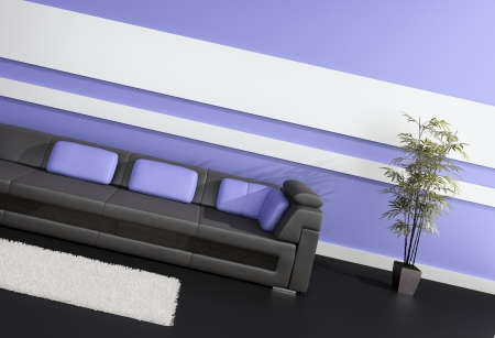 Modern Design Interior with black leather sofa and purple pillows photo