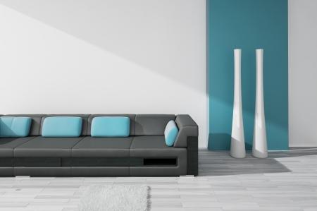 Modern Design Interior with black leather sofa Stock Photo - 19751469