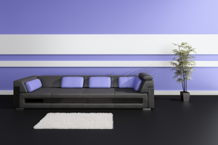 Modern Design Interior with black leather sofa and purple pillows Stock Photo - 19751473