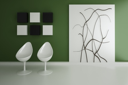 ure: Modern Design Interior with two white egg chairs Stock Photo