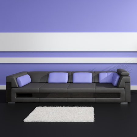 Modern Design Interior with black sofa and purple pillows Stock Photo - 19751471