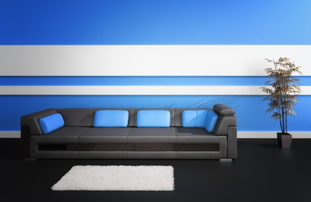 modern leather sofa against blue wall  Inter Architecture Stock Photo - 19533020