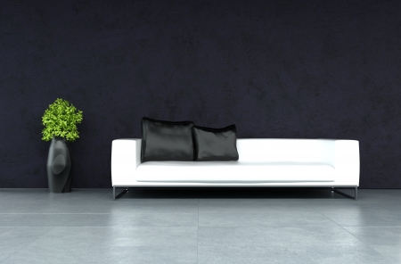 apartment living: modern leather sofa against black wall   Interior Architecture Stock Photo