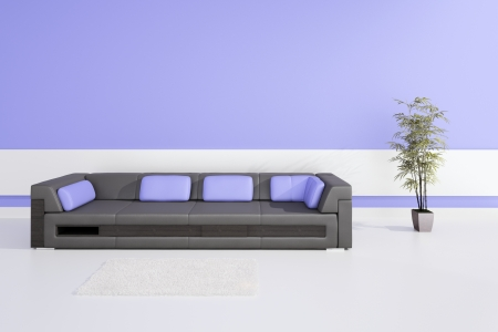 Modern Design Interior with black leather sofa and purple pillows Stock Photo - 19751472