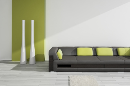 modern sofa: Black leather sofa with green pillows   Interior Architecture Stock Photo