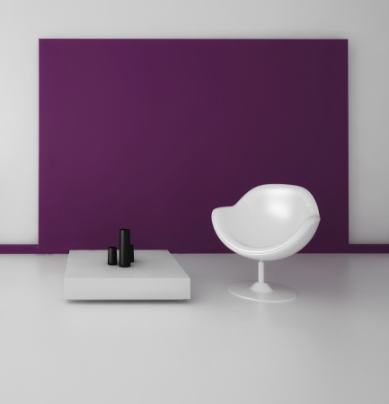 Modern Design Interior with white chair against pink wall Stock Photo