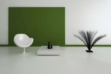 Modern Design Interior with white chair against green wall photo