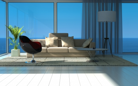 Modern sunny living room with large windows and seascape view photo