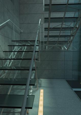 Modern glass stair / interior architecture stair Stock Photo - 19459588