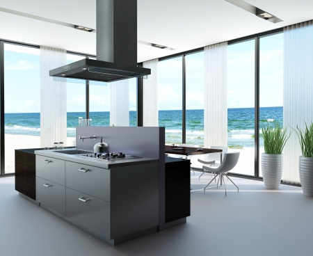 Modern Design Kitchen Interior with seascape view photo