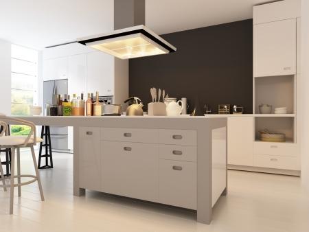 Stylish Modern Kitchen With Geometric Accent Wall, Illuminated ...