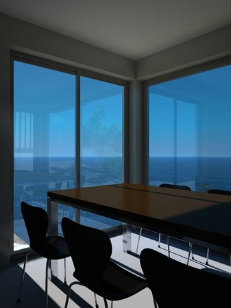 A 3d rendering of modern meeting room photo