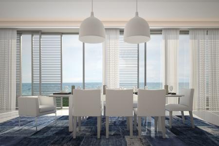 paysage marin: Int�rieur moderne avec table � manger et vue sur la marine