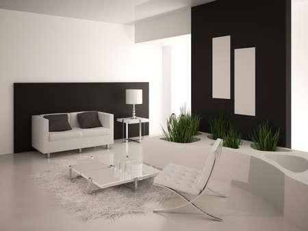 Modern black and white living room inter Stock Photo - 19533036