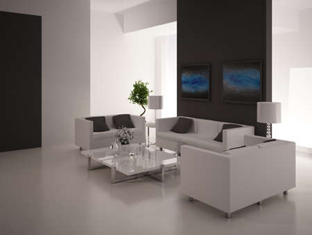Modern design living room   Interior Architecture Stock Photo - 19532865