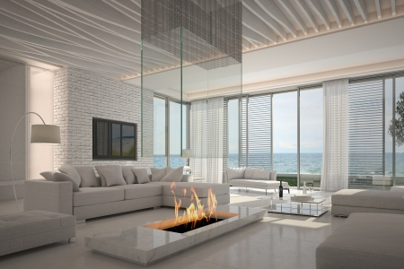 living apartment: Amazing white living room interior with seascape view Stock Photo