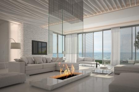Verbazingwekkende witte woonkamer interieur met zeegezicht weergave Stockfoto