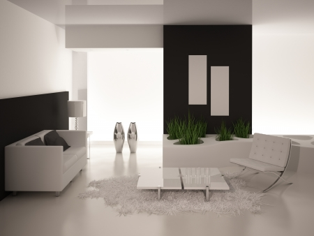 Modern black and white living room   Interior Architecture photo