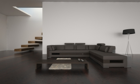 modern living room interior: Modern living room with brown sofa set