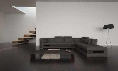 Moderne Wohnzimmer mit braunen Sofa Set