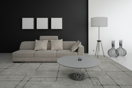 Modern design living room   Interior Architecture Stock Photo - 19533005