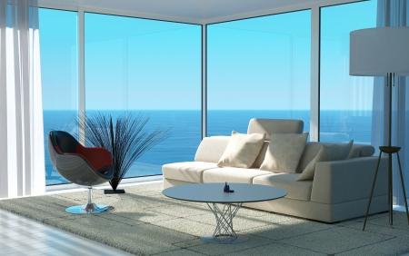 海の景色を望む日当たりの良いリビング ルームのインテリア