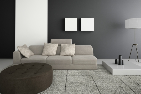 Black Sofa With White Cushions In Sparsely Decorated Modern Living ...