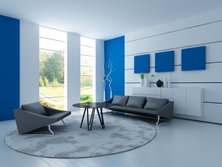 Light blue living room with black sofa photo