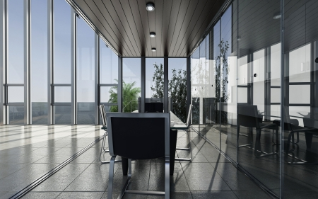 spacious: modern meeting room with seascape view   Interior Architecture