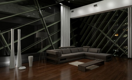 A 3d rendering of modern living room at night photo