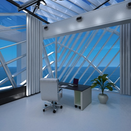 modern office interior with seascape view   Interior Architecture photo