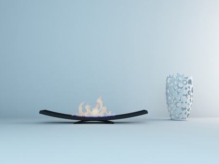 minimalist fireplace with vase photo