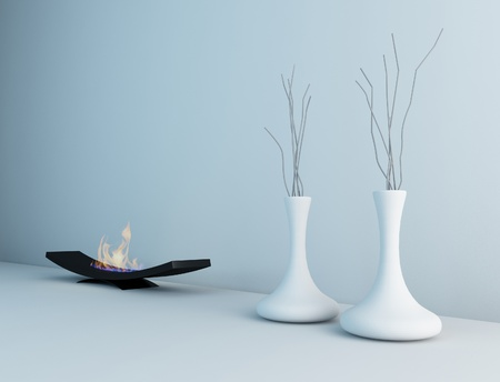 minimalist fireplace with vases   Interior Architecture photo