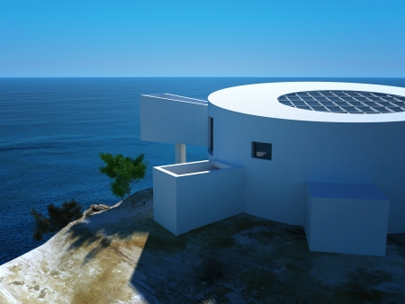 Modern design villa with beautiful seascape view photo