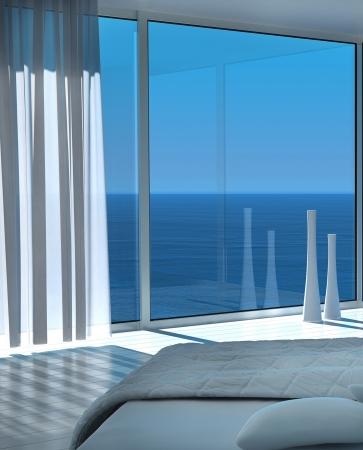 Moderne wei�e sonnige Schlafzimmer Interieur mit Meerblickansicht