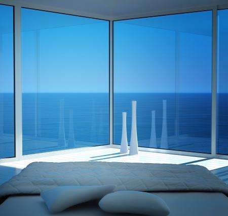 Blanco moderno interior soleada habitación con vista al paisaje marino Foto de archivo - 20074279