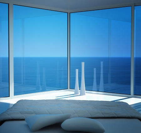 house window: Modern white sunny bedroom interior with seascape view