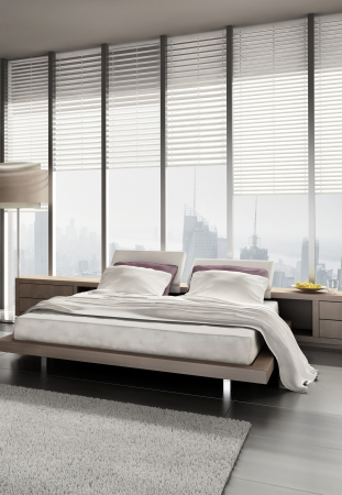 bed frame: Modern design bedroom with floor to ceiling windows Stock Photo