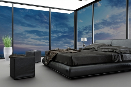Exclusive modern design bedroom with aerial view photo