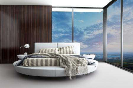 Minimalistisch modern design slaapkamer met luchtfoto Stockfoto
