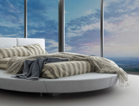 bedroom furniture: Minimalist modern design bedroom with aerial view Stock Photo