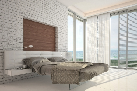 house facades: Modern design bedroom with floor to ceiling windows and seascape view