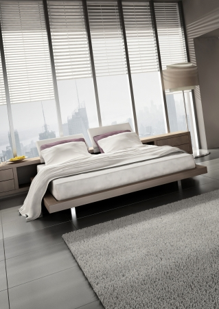 modern design bedroom with floor to ceiling windows Stock Photo - 20074500