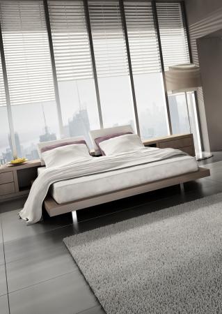 modern design bedroom with floor to ceiling windows Stock Photo - 20074500