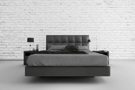 モダンなデザインの寝室 3 d インテリア建築 写真素材
