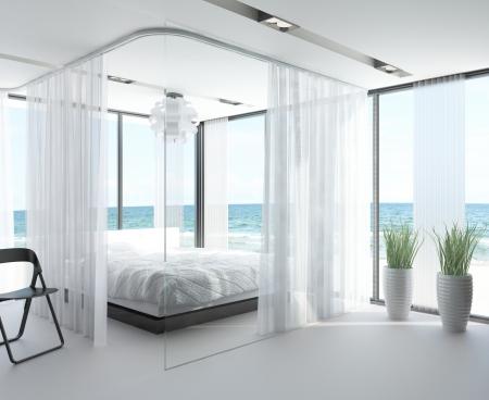 cortinas blancas: Moderno dise�o interior del dormitorio con vista al paisaje marino Foto de archivo